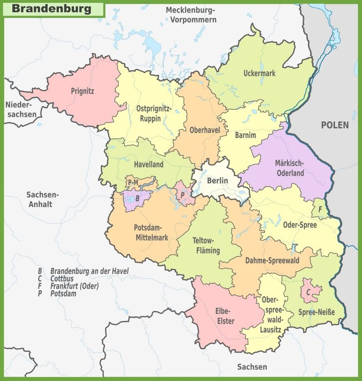 Administrative divisions map of Brandenburg | Germany | Map ...