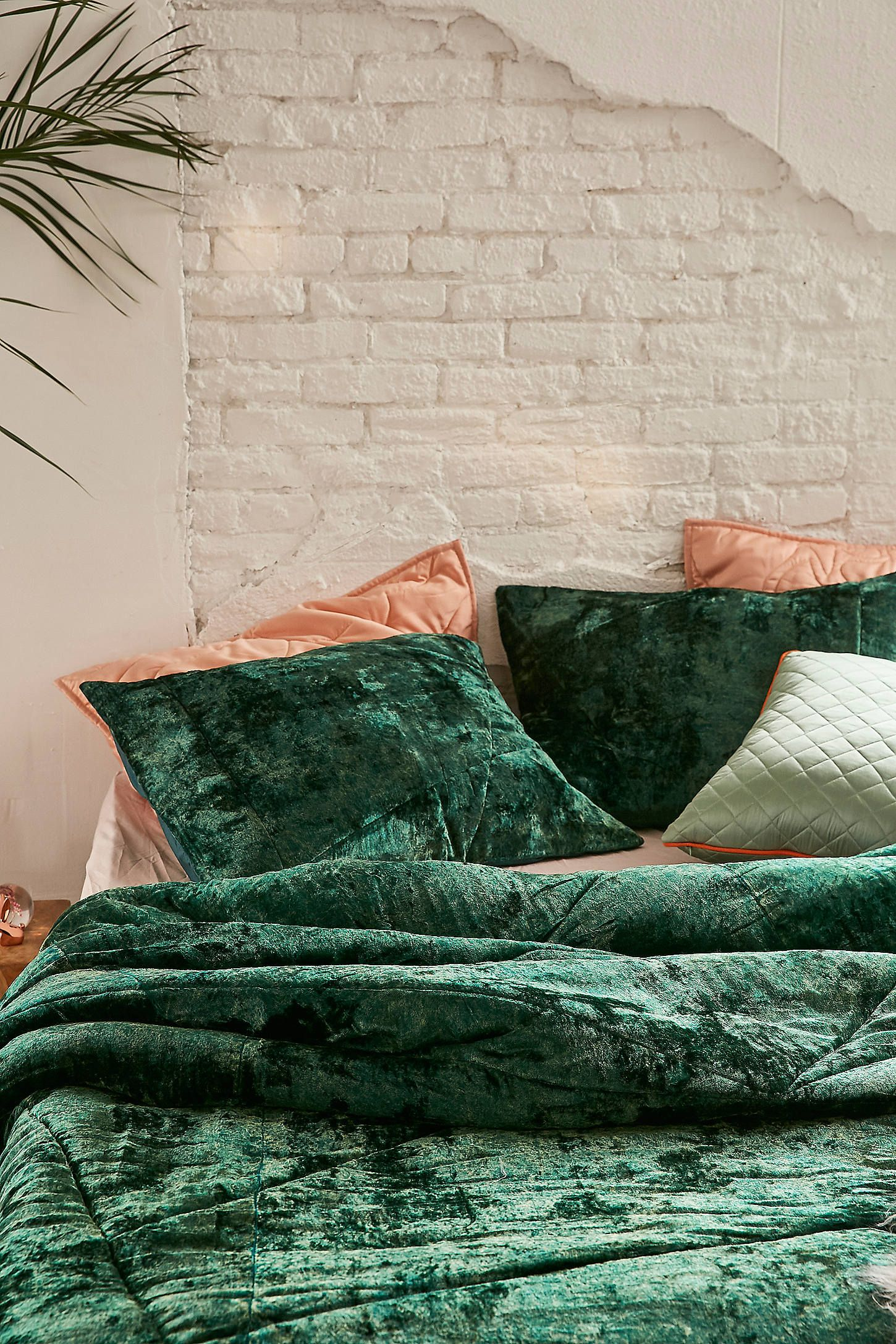 Skye Crushed Velvet Comforter Bedroom Green Home Decor Bedroom
