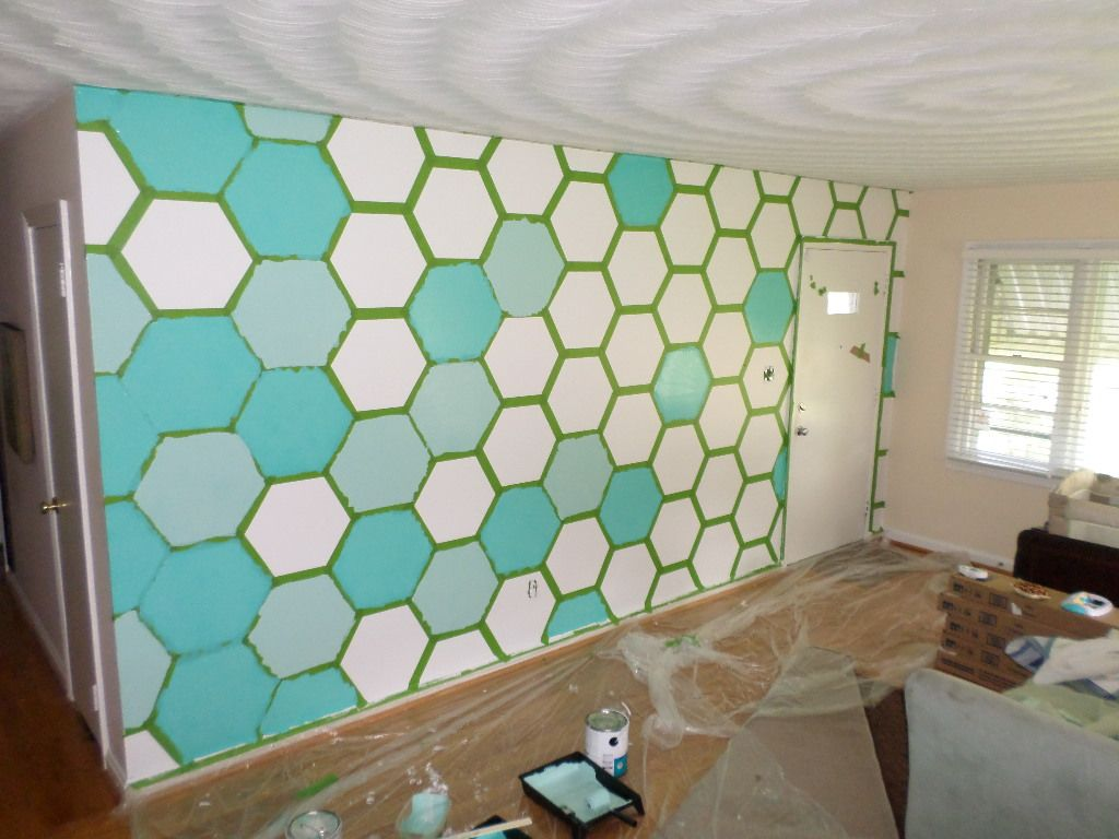 Custom Colors Hexagon Wall Feature Living Romm | Corinna Ashley. Wall  Painting PatternsWall ...