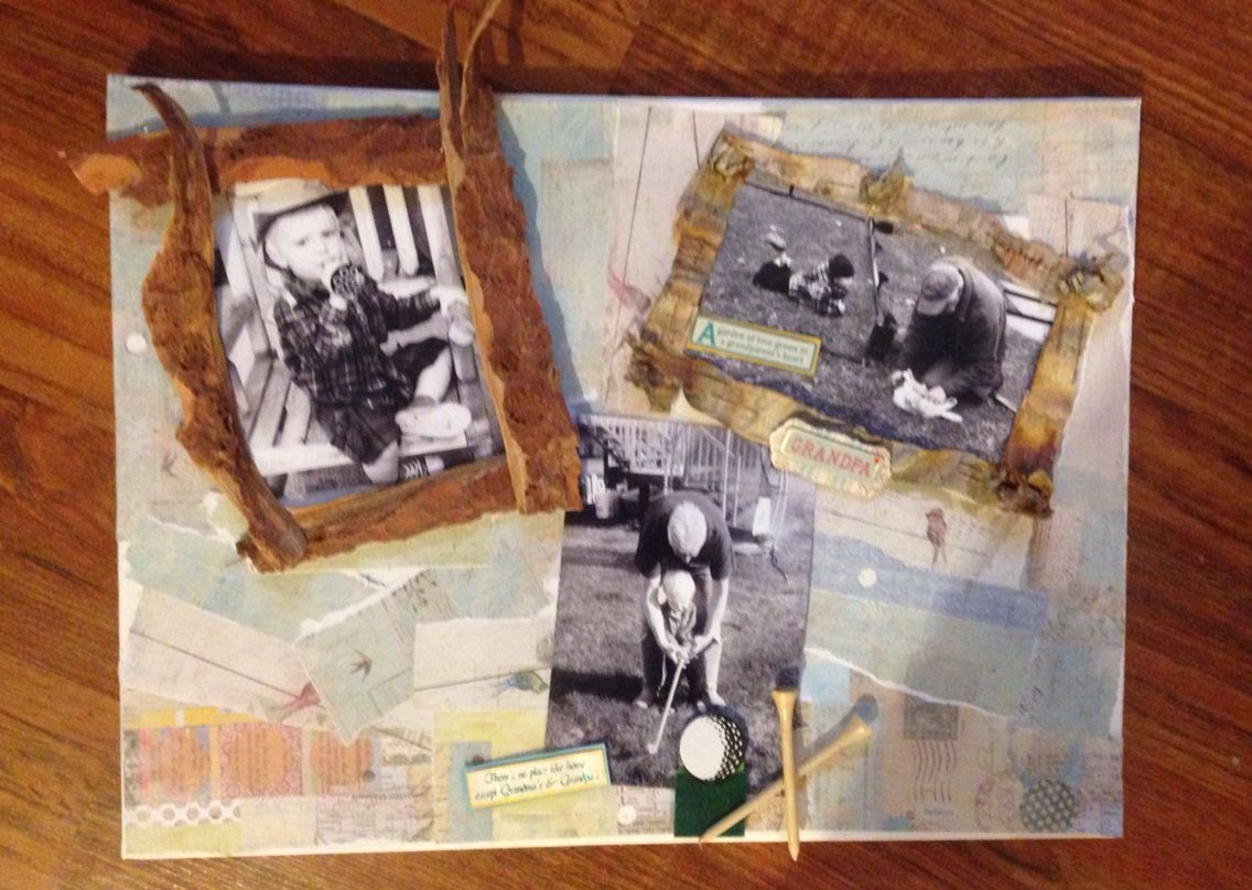 Grandpa's memories, I used paper mache' and card stock and bark.