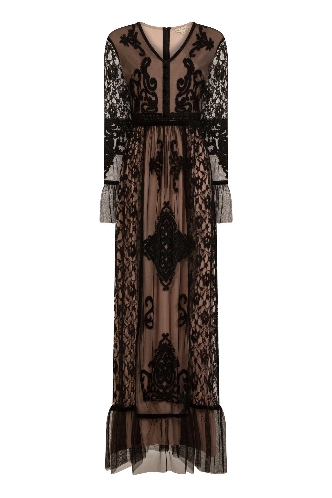 b4551c00ba Frock and Frill Fosetta Black Mesh And Lace Maxi Dress