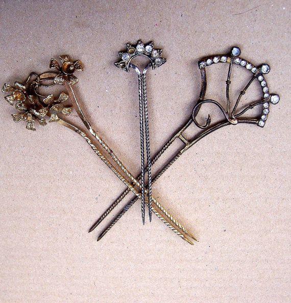 Vintage Hair Combs wear/repair bargain lot 3 Indonesian Bali hair pin hair pick hair accessory hair jewelry hair ornament AS IS (ACJ)