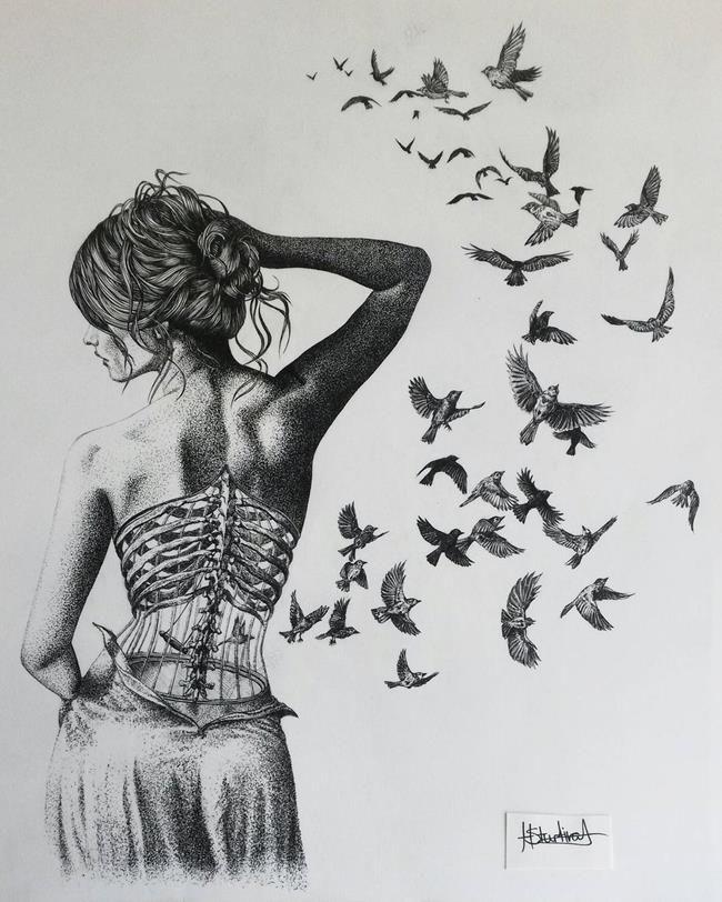"""Babasından Öğrendiği Çizim Teknikleri ile Müthiş Resimler Yapan Genç Sanatçı: """"Helen Rose"""""""