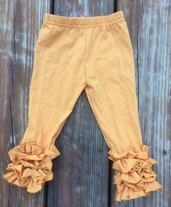 5T Mustard Icing Legging - Fall/Thanksgiving ruffled legging
