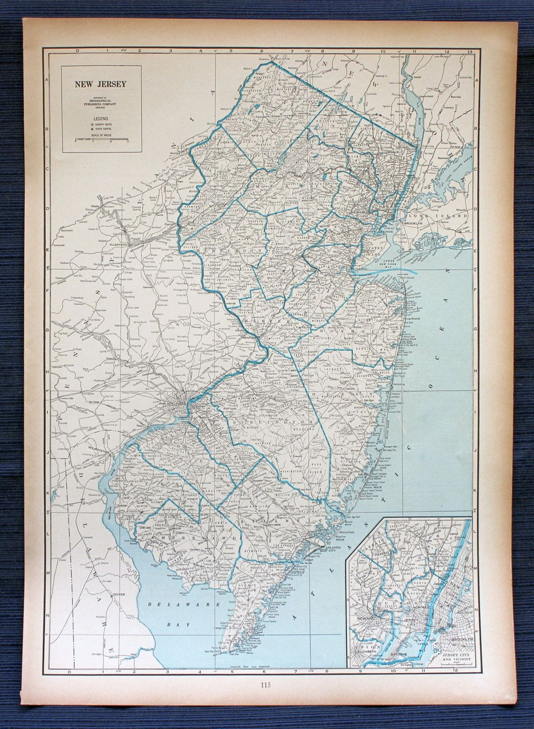 1941 New Jersey Map or New Mexico