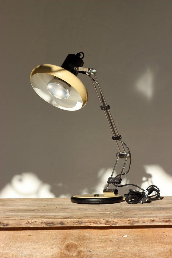 """Vintage French Desk Lamp by """" SACHA KETOFF """" Enamel Designer Desk Light"""