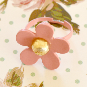 Pink Flower Adjustable Resizeable Ring
