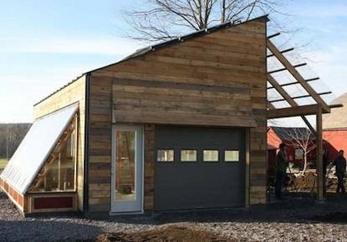 Multi-purpose solar garage - electric vehicle storage and food production under one eco-friendly roof.