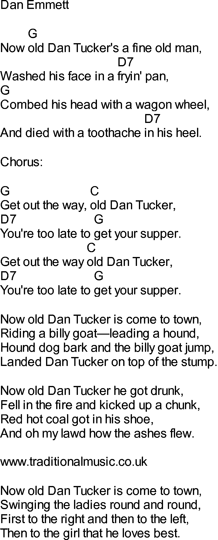 Bluegrass Songs With Chords Old Dan Tucker Musical Pinterest