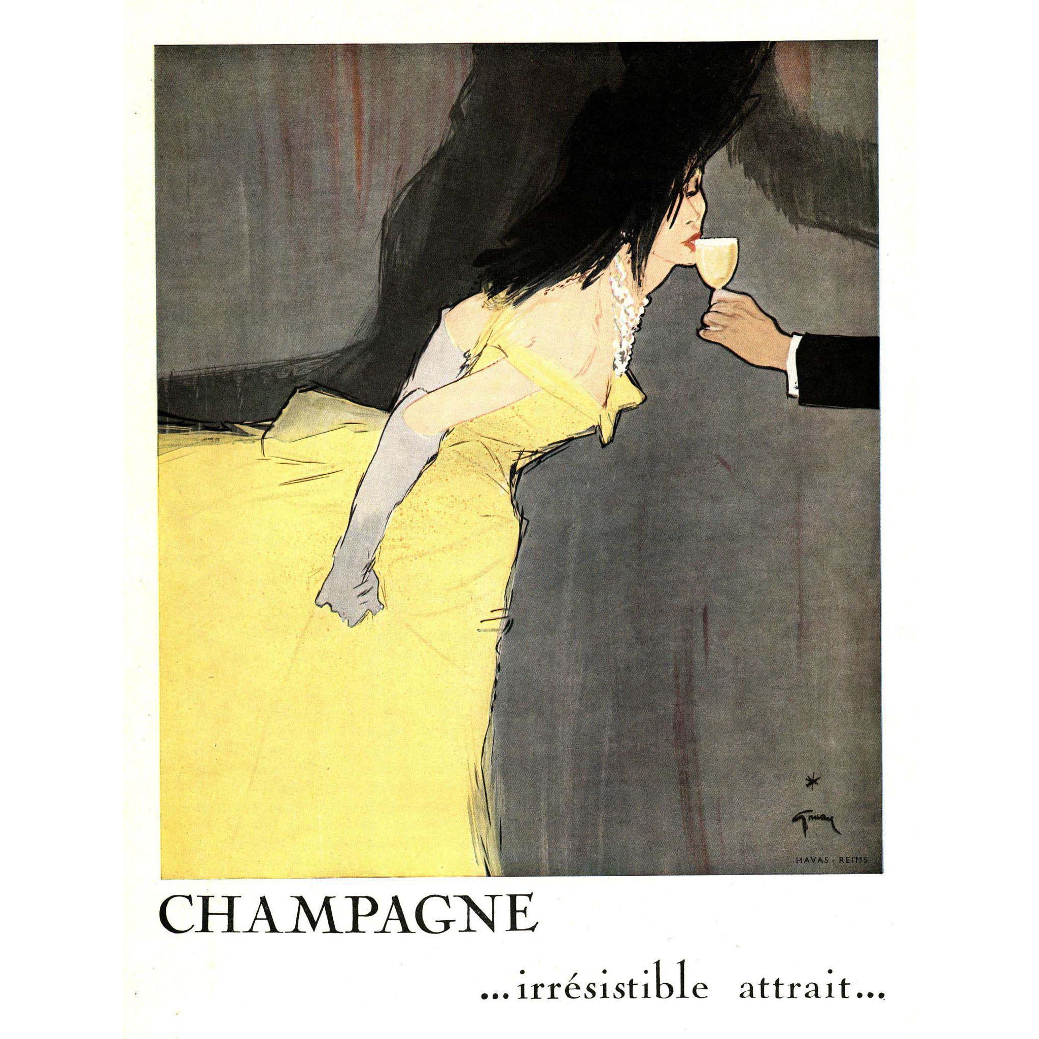 Original Champagne Print by Rene Gruau