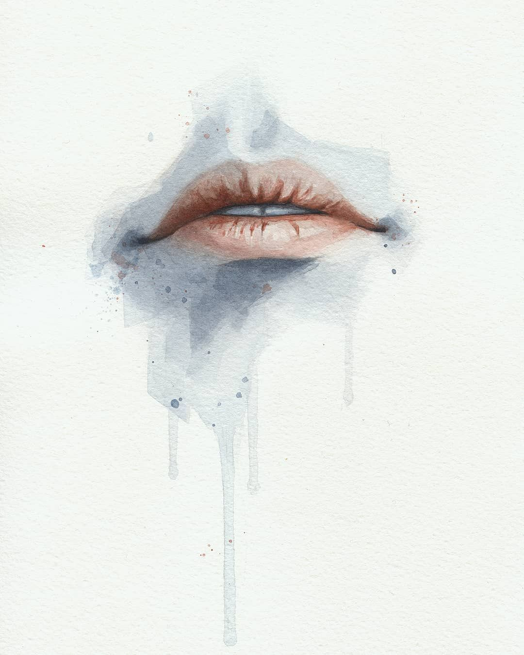 Miro Z Art Lips Watercolor Study Lips Study Watercolor