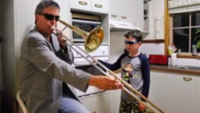 Watch Father And Son Alone In The Kitchen Video Trombone Songs Funny Gif