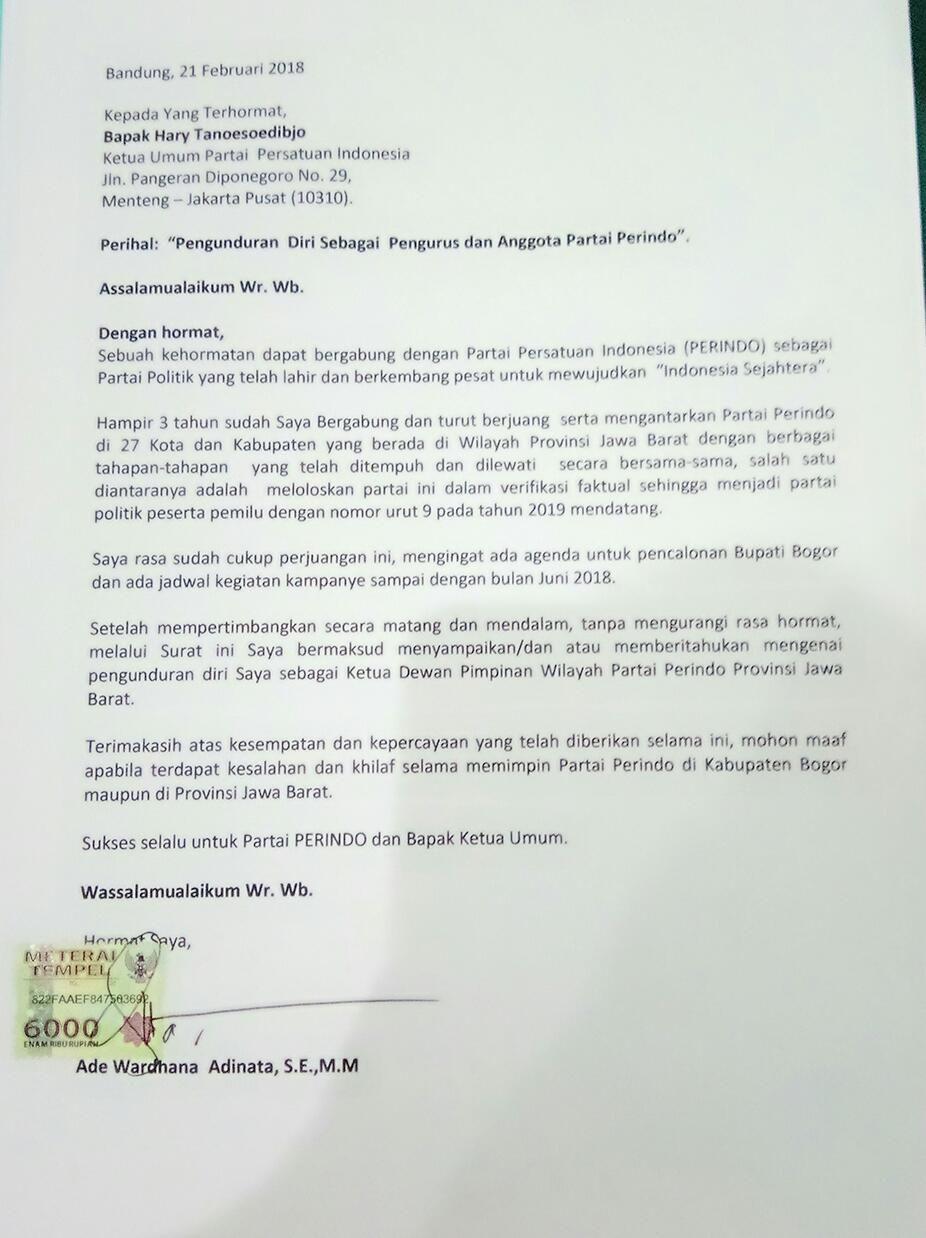 Mantan Ketua Dpd Partai Perindo Bekasi Angkat Bicara Terkait