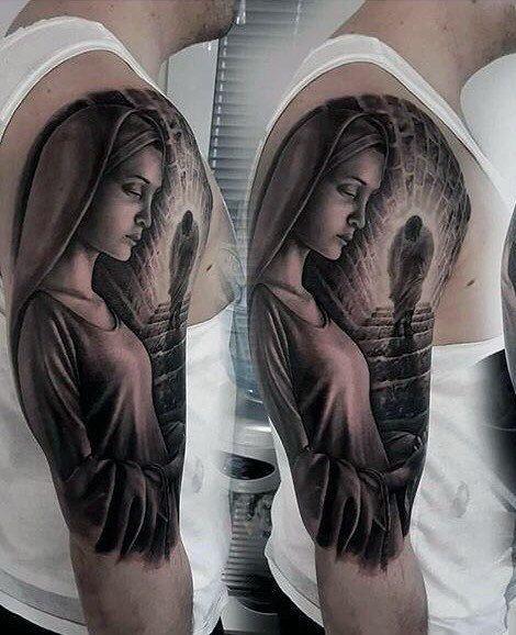 4ddc1434999b7 Jesus Walking Up Stairs To Heaven Mens Virgin Mary Half Sleeve Tattoos