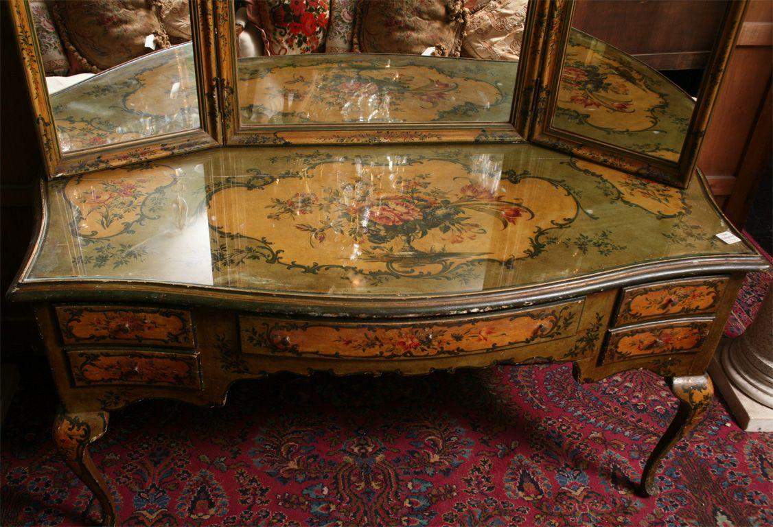 19th Century Venetian Painted Vanity Table And Mirror