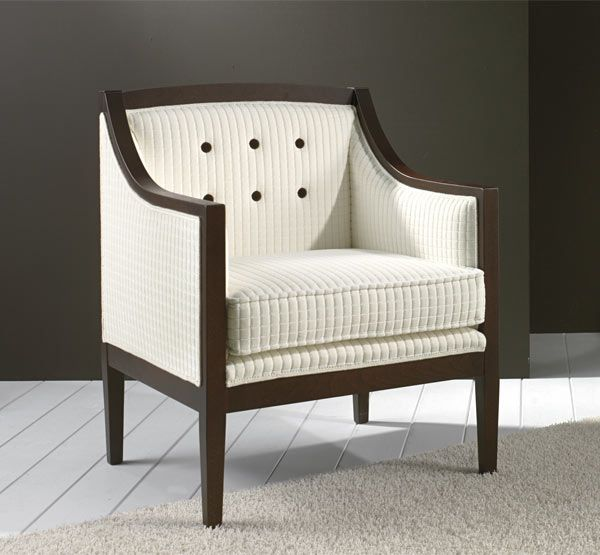 Cleopatra Armchair 9175P Art Deco Style With Simple Beech Wood Structure Fully Upholstered In Natural Cotton Velvet Enriched Deep Buttoning
