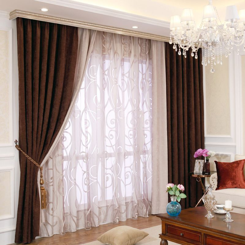 Classic and modern contemporary curtains of chenille - Modern curtain ideas for living room ...