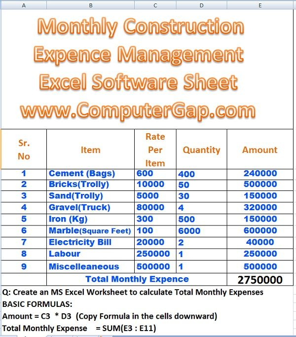 Monthly House Building Expenses Calculator Formulas in Excel