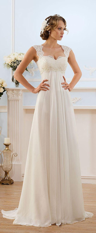 Glamorous Chiffon Sweetheart Neckline Empire Waistline Sheath Wedding Dress With Beaded Lace Liques