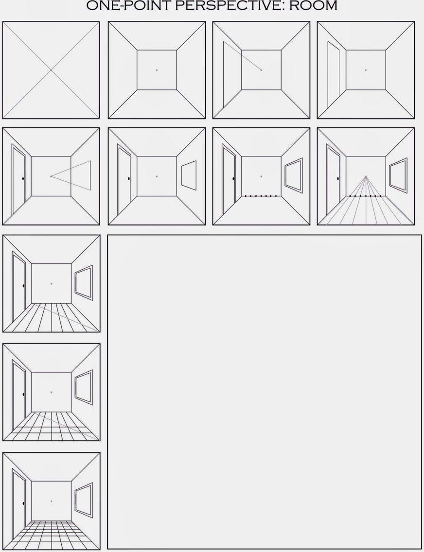 Zeichen Perspektiven Fluchtpunkt Zimmer Oder Räume Malen In