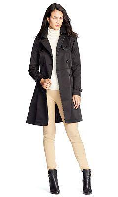 Faux Leather–Trim Trench Coat - Lauren Outerwear - RalphLauren.com