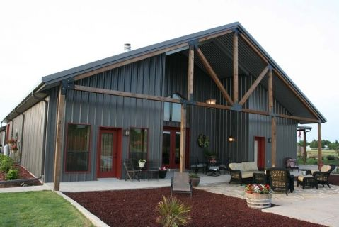 Walls Charcoal Trim Roof Galvalume Plus Roll Up Doors Rustic Red