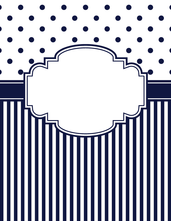 free printable navy blue polka dot and stripe binder cover template