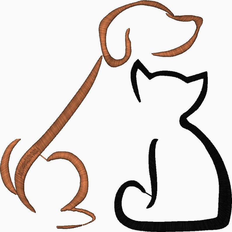 Cat Dog puppy Silhouette Embroidery Design  Animal Silouette