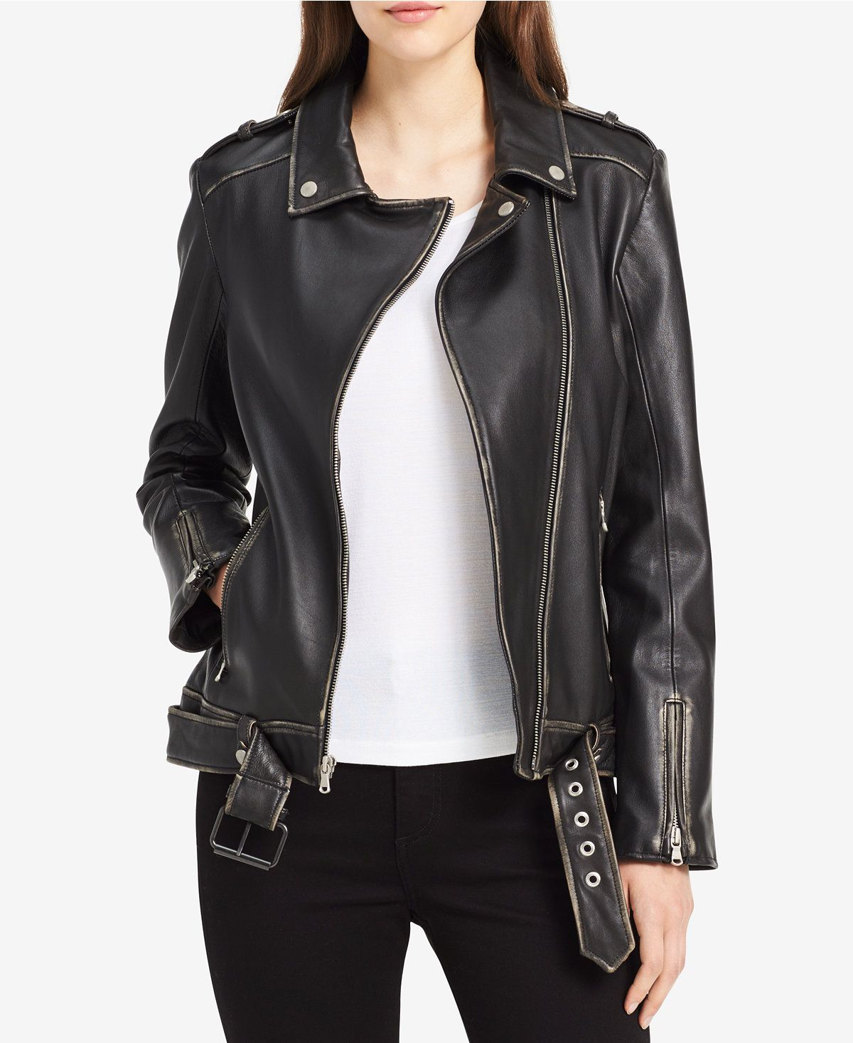 Calvin Klein Jeans Leather Moto Jacket Jackets Women