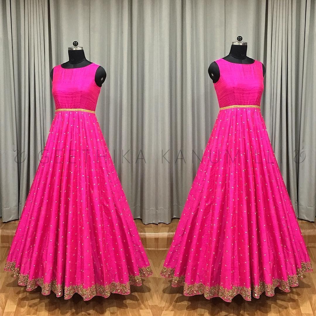 Beautiful pink color floor length anarkali dress with buti design ...