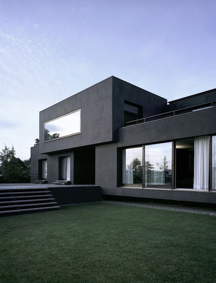 Clean Lined, Flat Faced, Greyscale House. Modern Architecture ...