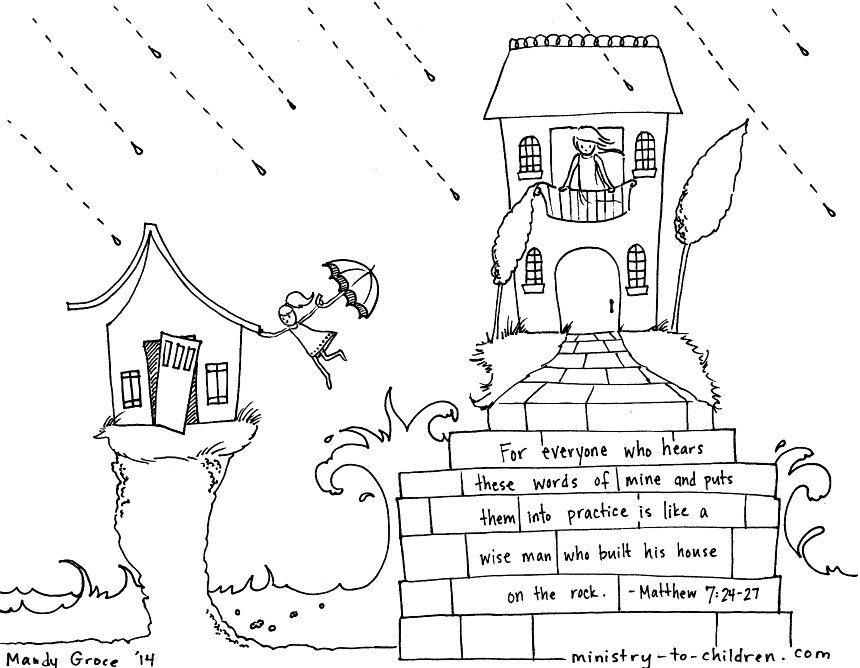 Wise And Foolish Builders Coloring Page Matthew 7 24 House On The
