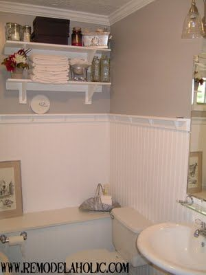 remodelaholic bathroom retro remodel bead board with ledge on top rh pinterest com