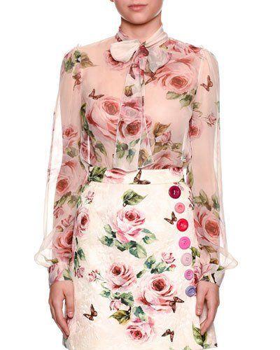 fd901e06bb Dolce   Gabbana Long-Sleeve Rose-Print Chiffon Blouse w  Tie Neck ...