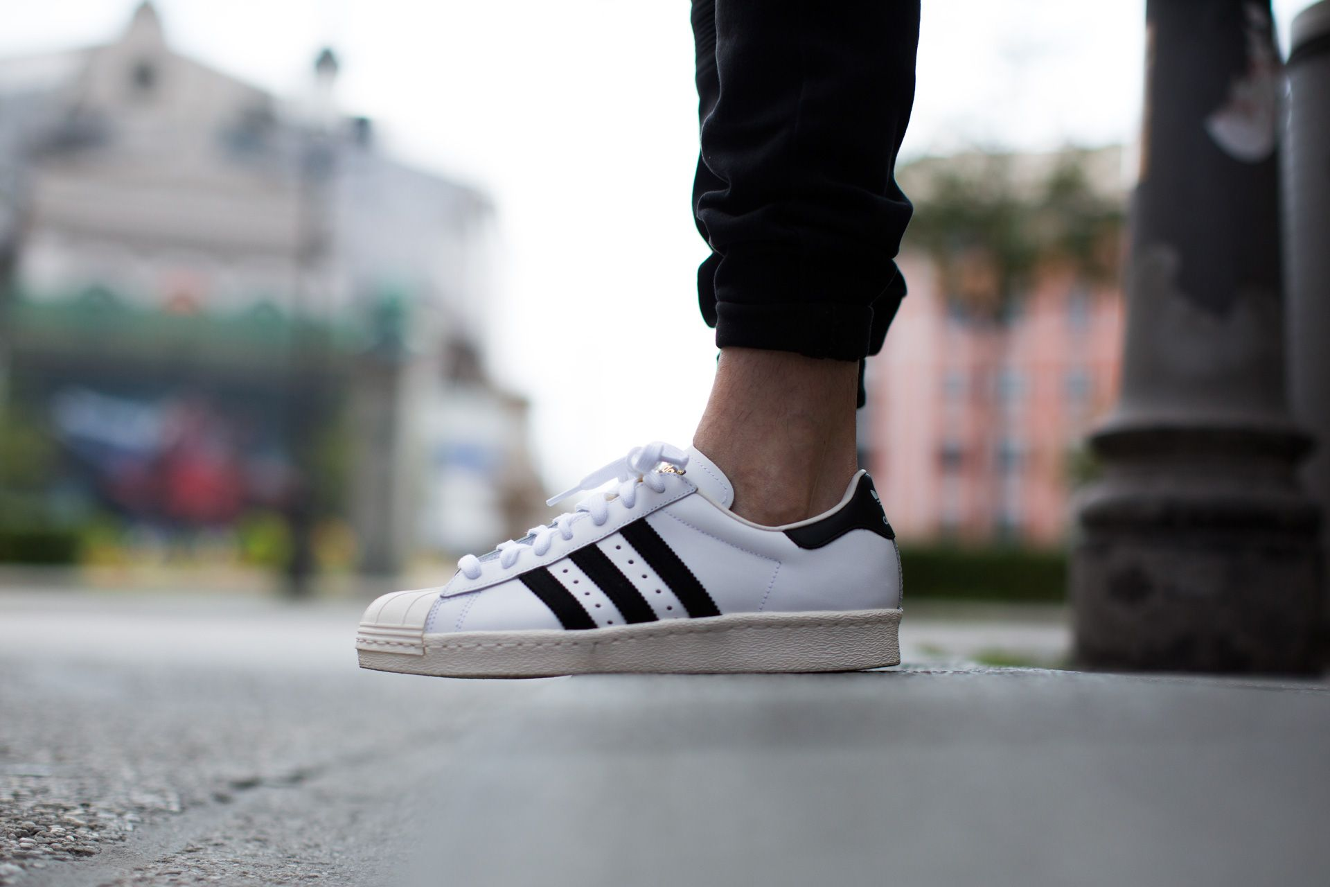 adidas Originals Superstar 80s Black Pink Gold Men Classic Shoes