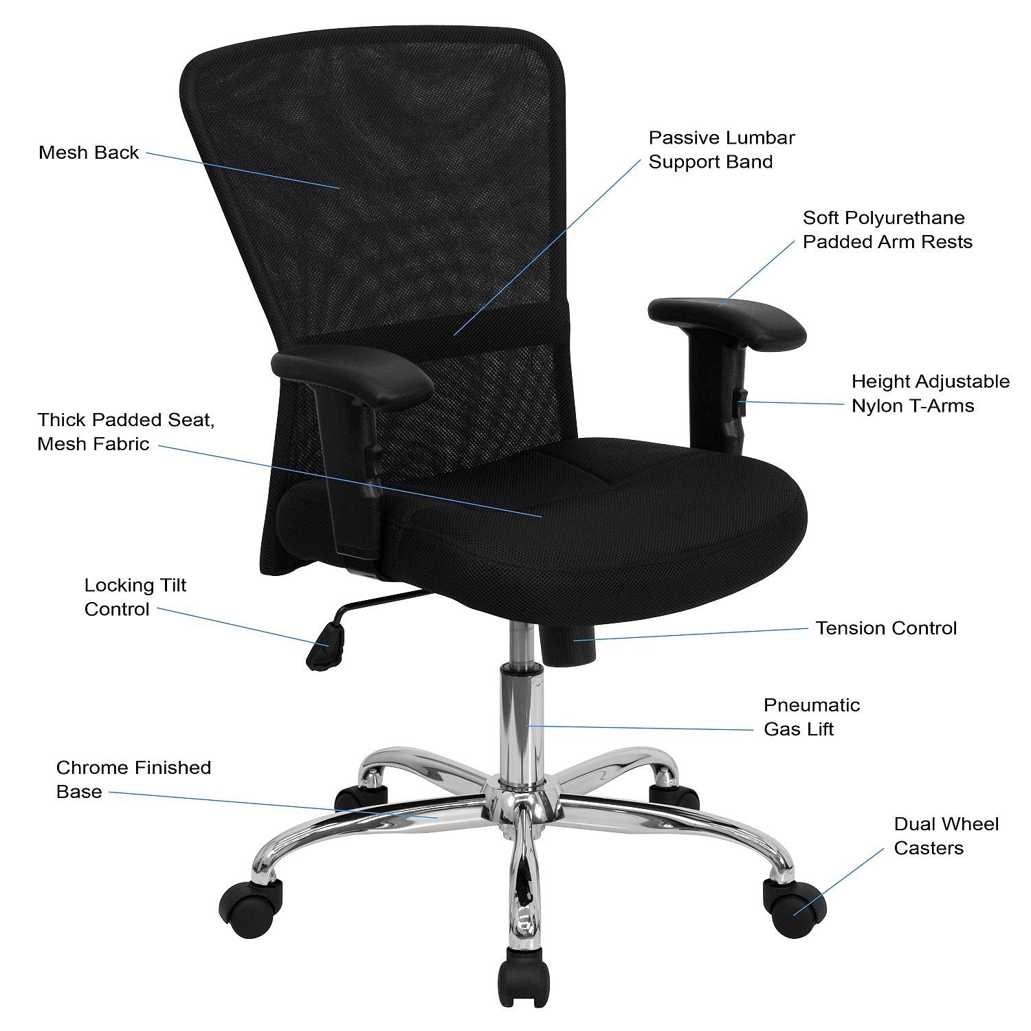 Mid Back Black Mesh Computer Chair Office Chair Mesh Office