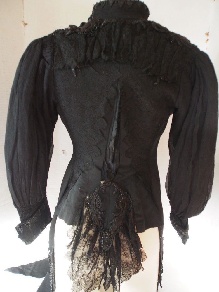 Antique Victorian PARIS Black Bead Embroidery Chantilly Lace Silk Corset Jacket