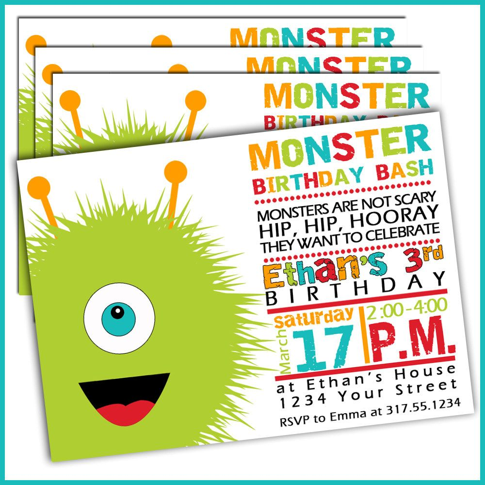 Monster Birthday Invitations For Boys Set Of 15 By LullabyLoo