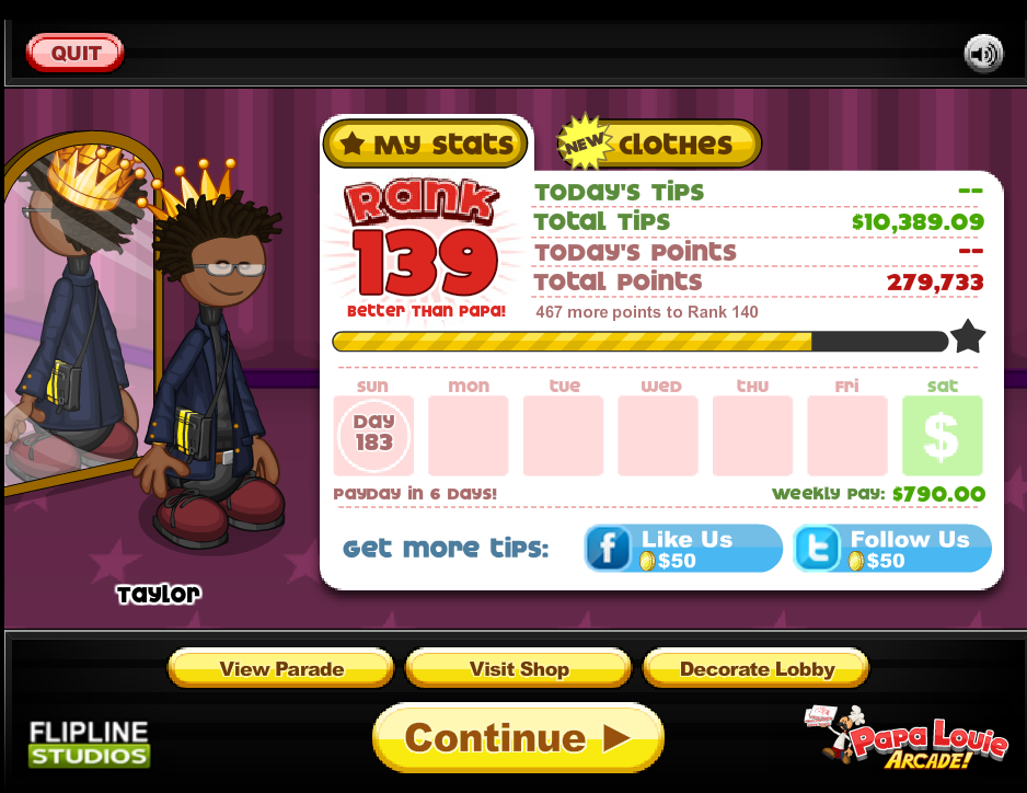 Finally passed the $10,000 mark in Papa's Hot Doggeria. Now to go ...