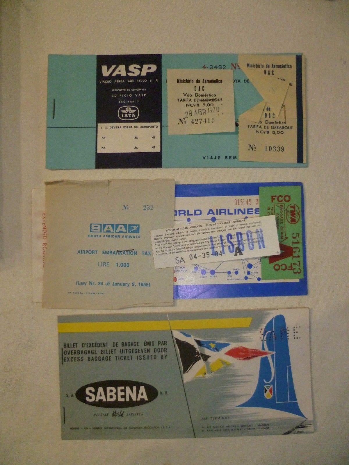 Old Airline Tickets Vasp SAA Sabena Old | eBay | Vintage Airline ...
