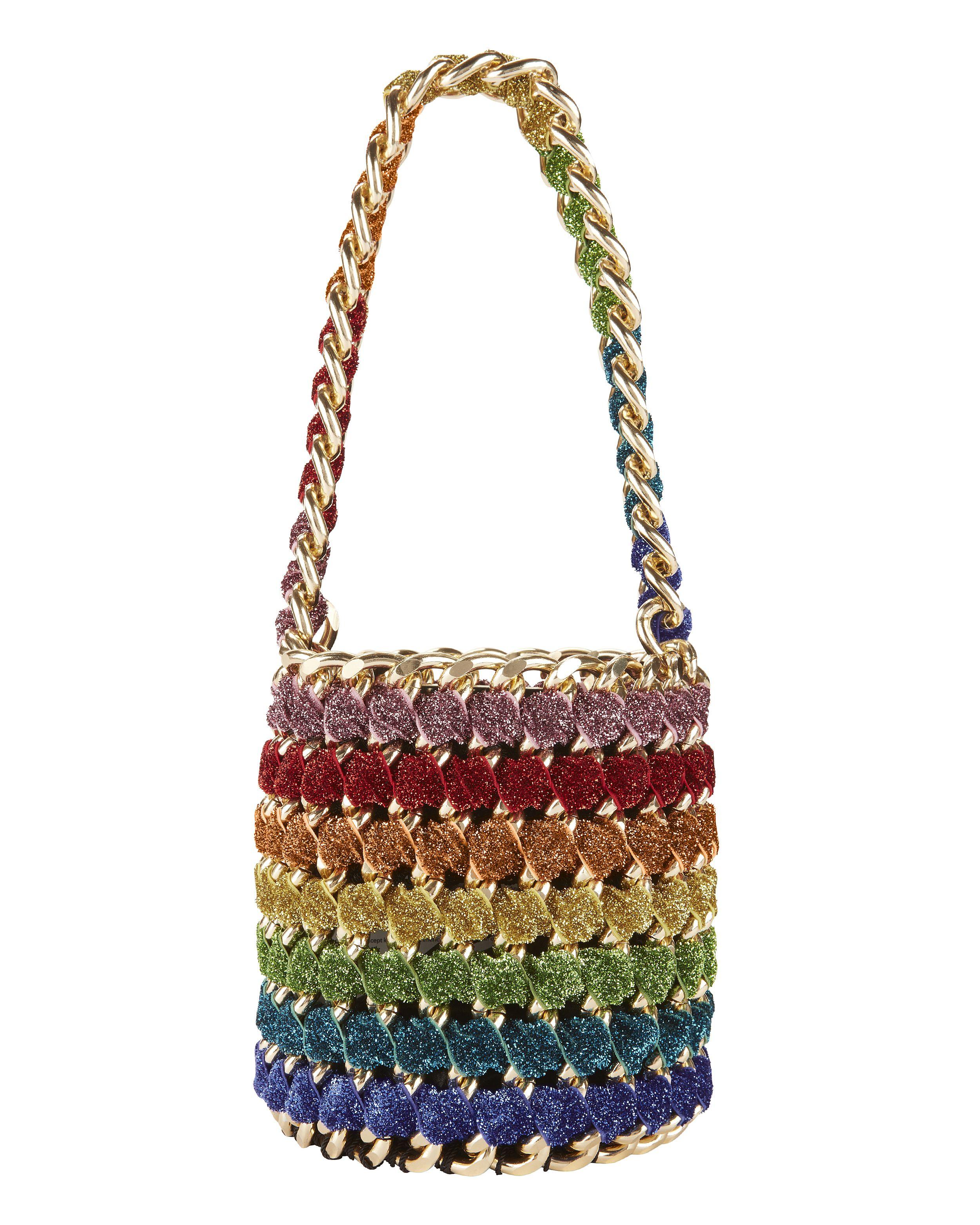 94023103e62 Tambonita Gold Chain Rainbow Shimmer Bucket Bag | Handbag ...