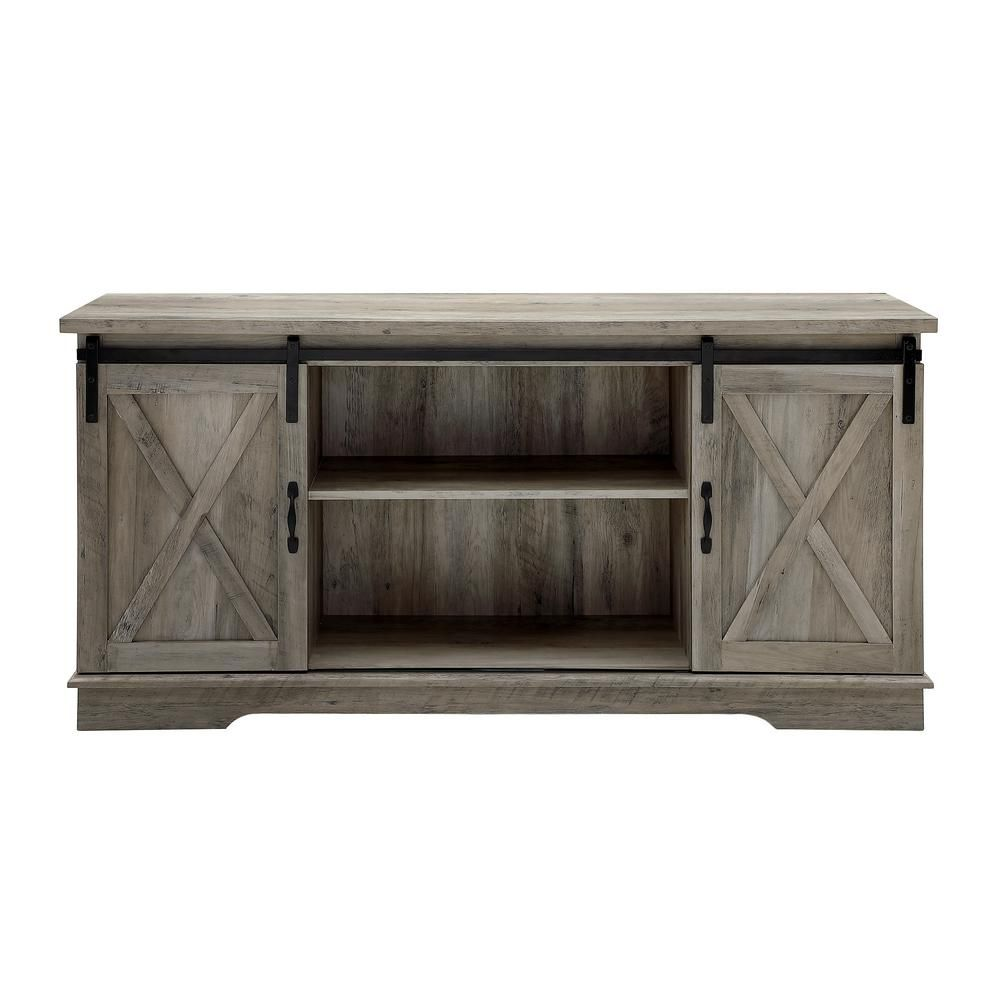 Walker Edison Furniture Company 58 In Grey Wash Sliding Barn Door Console