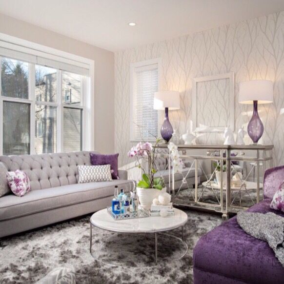 10+ Amazing Purple Living Room Accents