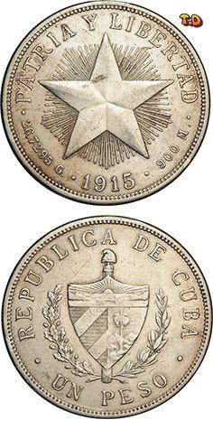 N♡T. REPUBLICA DE CUBA UN PESO Country Cuba Years 1915-1934 Value 1 Peso (1 CUP) Metal Silver (.900) Weight 26.7295 g Diameter 38 mm