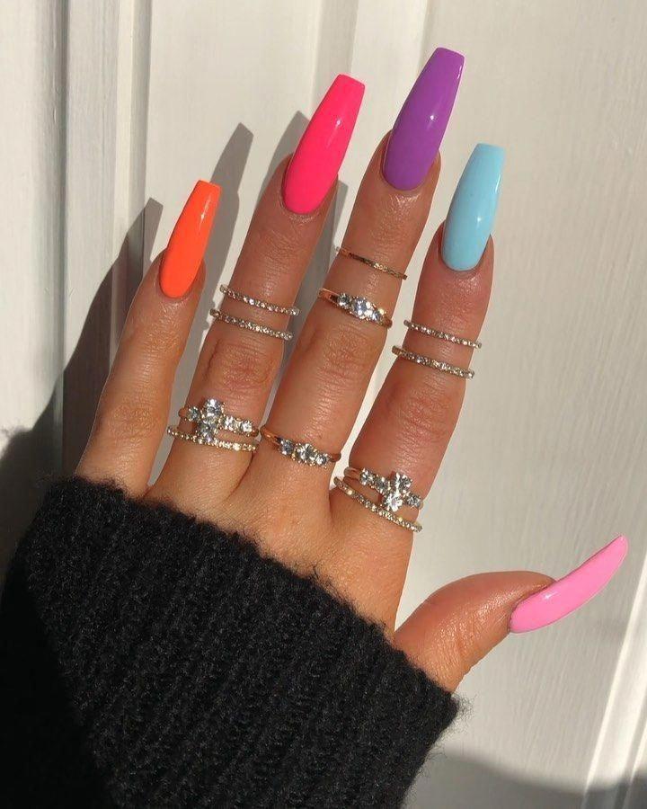 36 Nail Coffin Designs In 2020 Neon Nail Designs Best Acrylic Nails Coffin Nails Designs