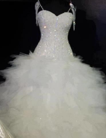 Rhinestone Bust; \'feather\' bottom; shoulder strap | Wedding Dresses ...