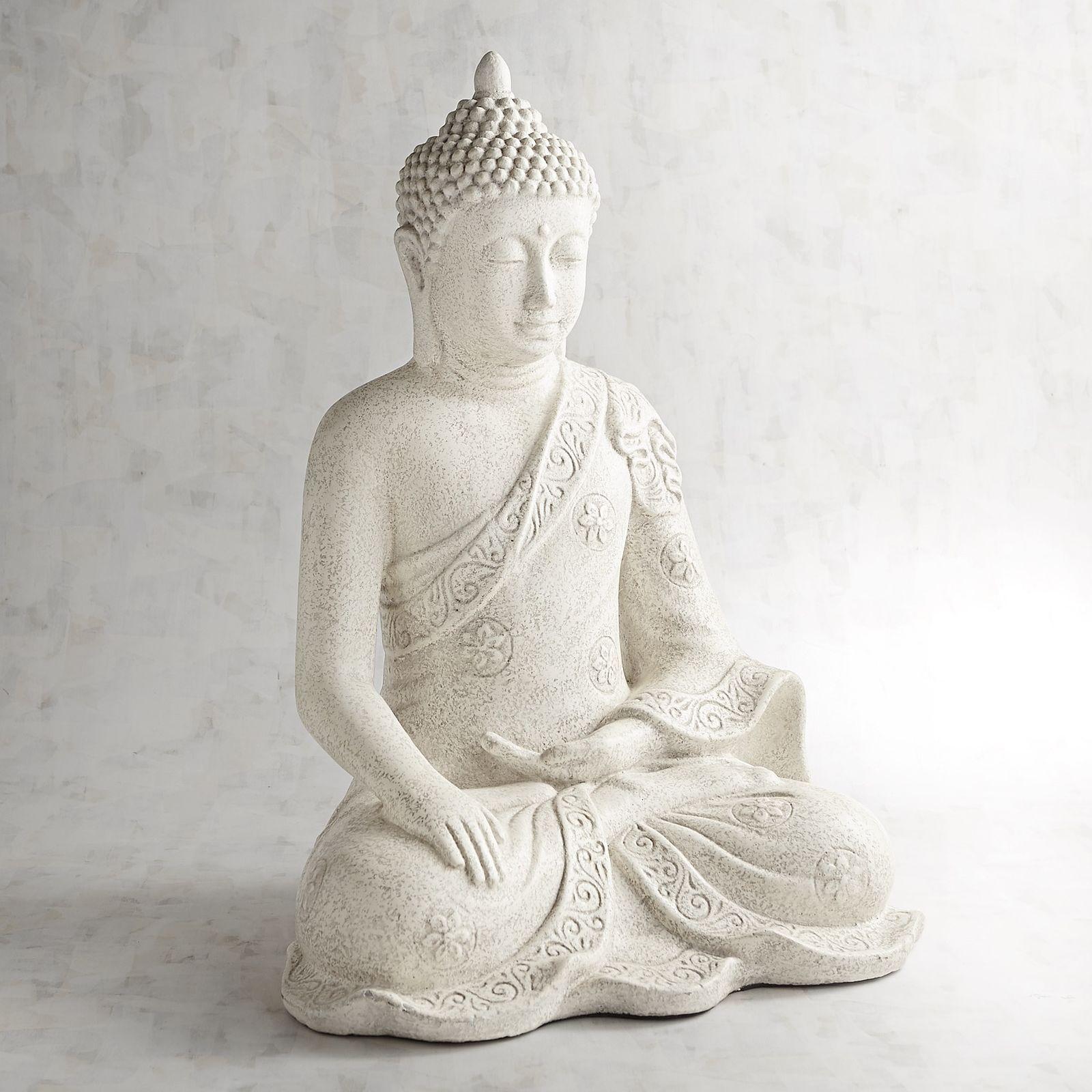 Antiqued White Sitting Buddha Sitting Buddha Antique Decor Buddha