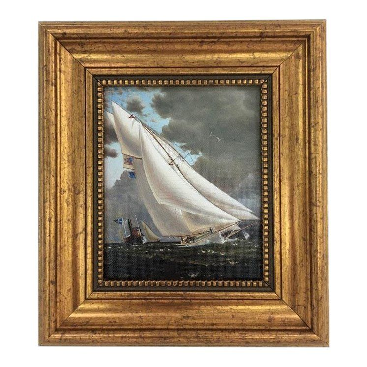 *SALE* Dollhouse Miniature Print of a Famous Nautical Painting in Gold Resin ...