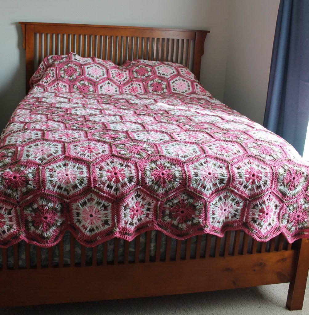 Afghan- Handmade Queen Hexagon Crochet Blanket - Pinks and ...