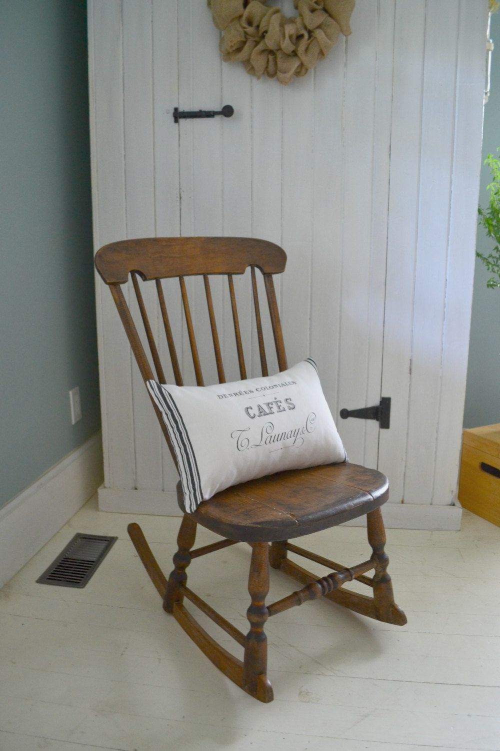Antique High Back Armless Rocking Chair/Natural Wood Finish/Farmhouse… - Antique High Back Armless Rocking Chair/Natural Wood Finish